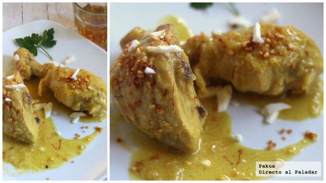 Cómo hacer pollo en pepitoria casero y tradicional. Receta con fotos paso a paso de la elaboración y presentación. Trucos para hacer la salsa....
