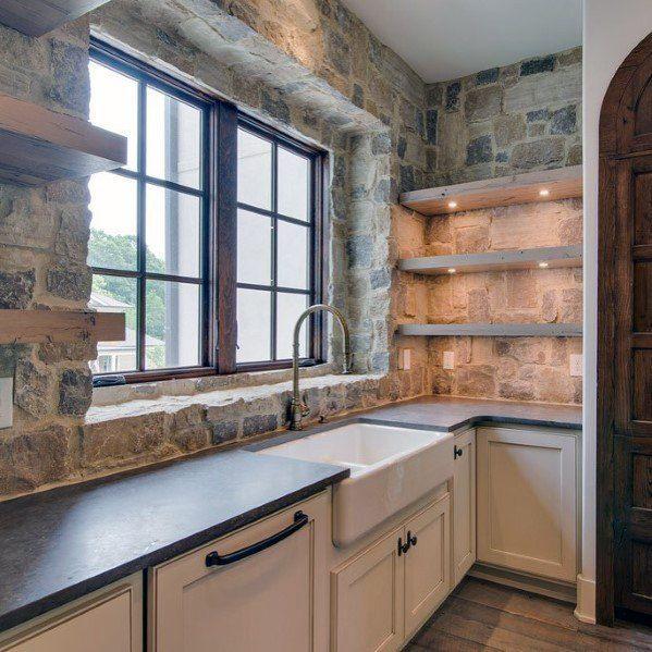 Top 60 Best Kitchen Stone Backsplash Ideas Interior Designs Rustic Kitchen Backsplash Stone Backsplash Kitchen Kitchen Backsplash Designs