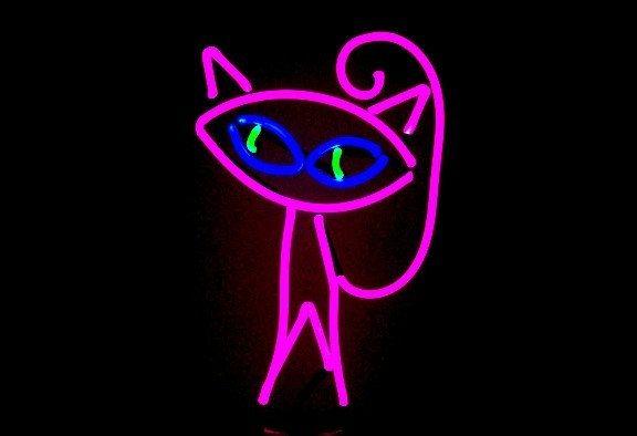 Cool Cat Neon Tabletop Freestanding Design Original Modern Feline Illuminated Art Sculpture by BillieBoi on Etsy