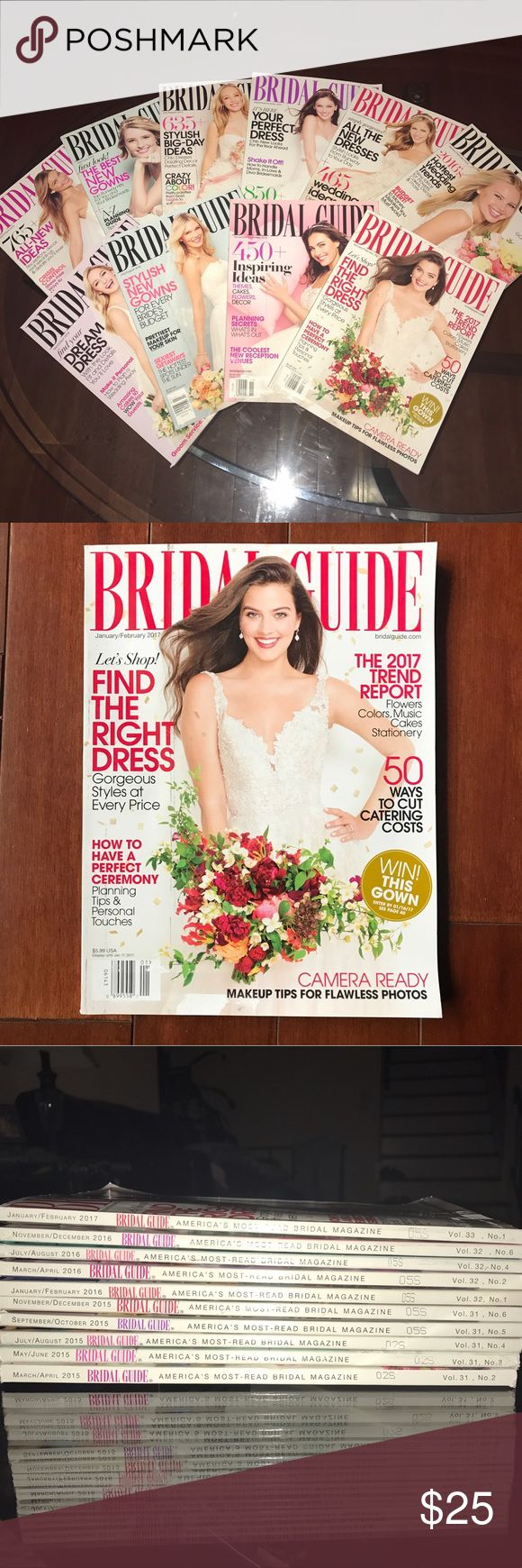 10 NEW bridal guide magazines 10 new bridal guide magazines. Originally $6 a piece! Newest issue I have is the January/February 2017 issue. Bought my mom a subscription to bridal guide thinking she would enjoy the beautiful wedding dresses featured each month in the magazines, turns out she isn't interested. Now I have tons of bridal guide magazines that are brand new and never even flipped through. 💜I ACCEPT OFFERS💜 Comment below any questions. (Brand is used for exposure) David's Bridal…