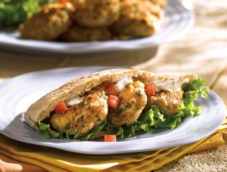 Tuna Falafels. Great when they're hot for a weeknight supper or when they're cold with pita and condiments for a satisfying lunch. The entire family will love these tasty patties.