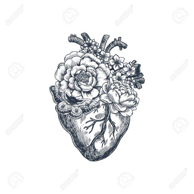 Tätowierungs-Anatomie-Weinlese-Illustration. Anatomisches Blumenherz … Royalty Free Cli