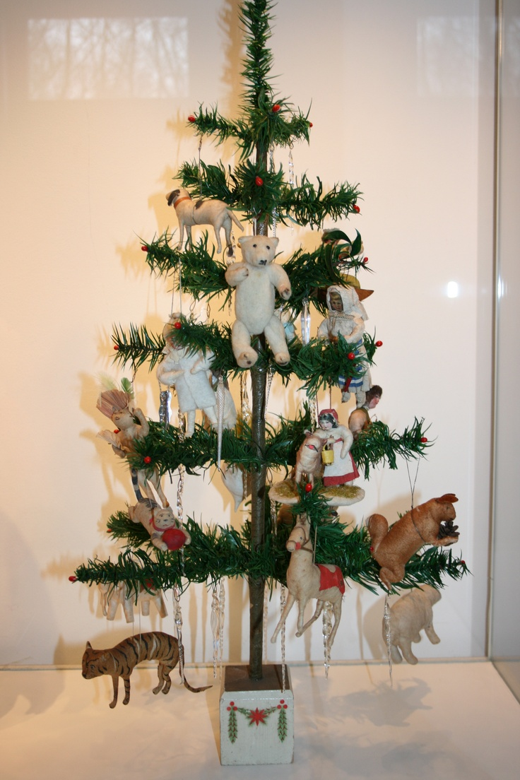 Antique feather tree with lovely cotton ornaments