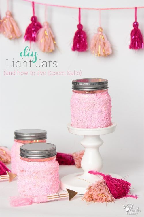 Awesome! DIY Light jars that are so cute and perfect for my Valentine's Day decor. Love that it teaches how to dye Epsom Salts. So amazing and easy!