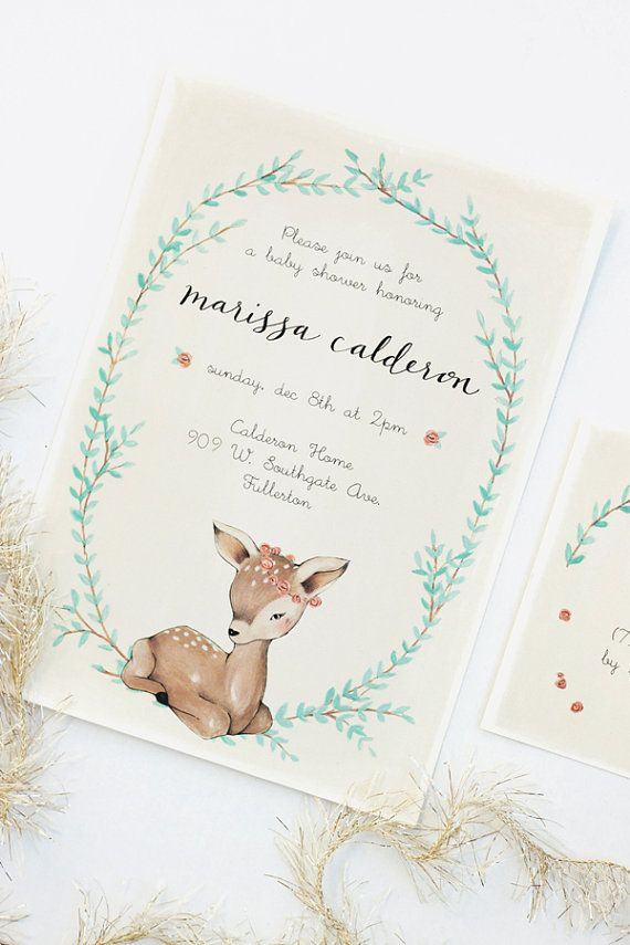 Baby Fawn Baby Shower Invitation Set by KelliMurrayArt on Etsy