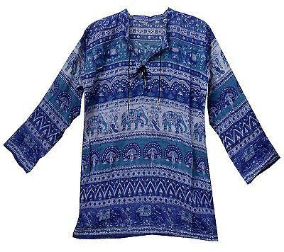 Индийский богемный хлопок этническая топ цыганский хиппи туника винтаж ретро платье вид блузка