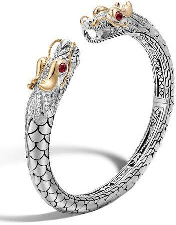 John Hardy Legends Naga 18K Gold & Silver Cuff Bracelet. For more of the John Hardy Naga Collection checkout my board dedicated to it https://www.pinterest.com/indaboxwitdat/khaleesi-mother-of-dragons/