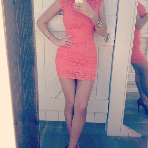 Love the coral lace dress!!!