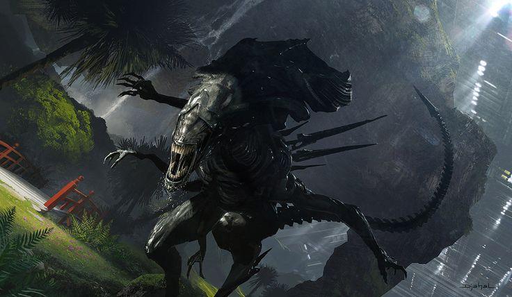 ArtStation - 2014   Concept art   Film project   Alien5   Neill Blomkamp   Hunting, Geoffroy Thoorens