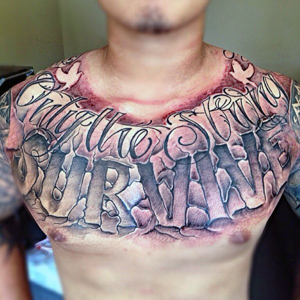 Piece Tattoo Only Strong Chest Survive
