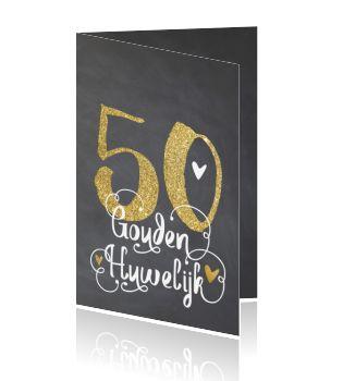 Jubileum uitnodigingskaart met gouden jaartal 50 op krijtbord. (5277)