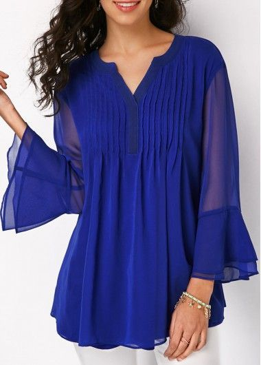 Split Neck Pleated Layered Bell Sleeve Blouse on sale only US$31.11 now, buy che…