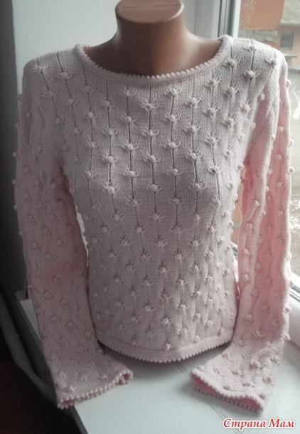 """Связала вот такой свитер, официальное название """"Зефирка"""", но пока вязала называла -тысяча и одна пупырышка. Вязала из пряжи 100% меринос, 175м/50г, спицами 2,2 зубчики, а основное полотно 2,5мм."""