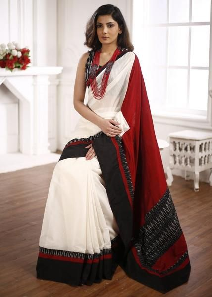 19b7a8b223 White Chanderi Saree with ikat Border & cotton Silk pallu with Ikat ...