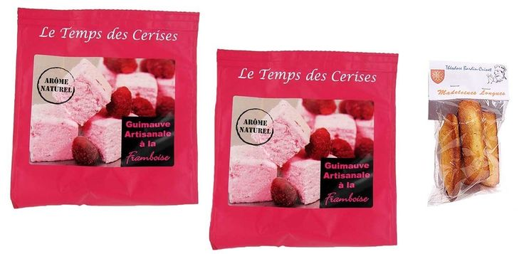 2 x french raspberry homemade marshmallows 200 gr-guimauves artisanales à la framboise LE TEMPS DES CERISES + 1 bag of madeleines Théodore Bardin-Cuinet