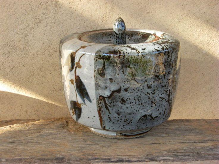 Tea Caddy - Tenmoku and white glaze with cobalt, rutile and iron oxide decoration