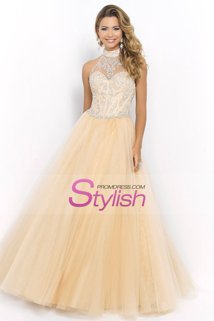 2015 Halter Beaded Bodice A Line/Princess Prom Dress With Tulle Skirt