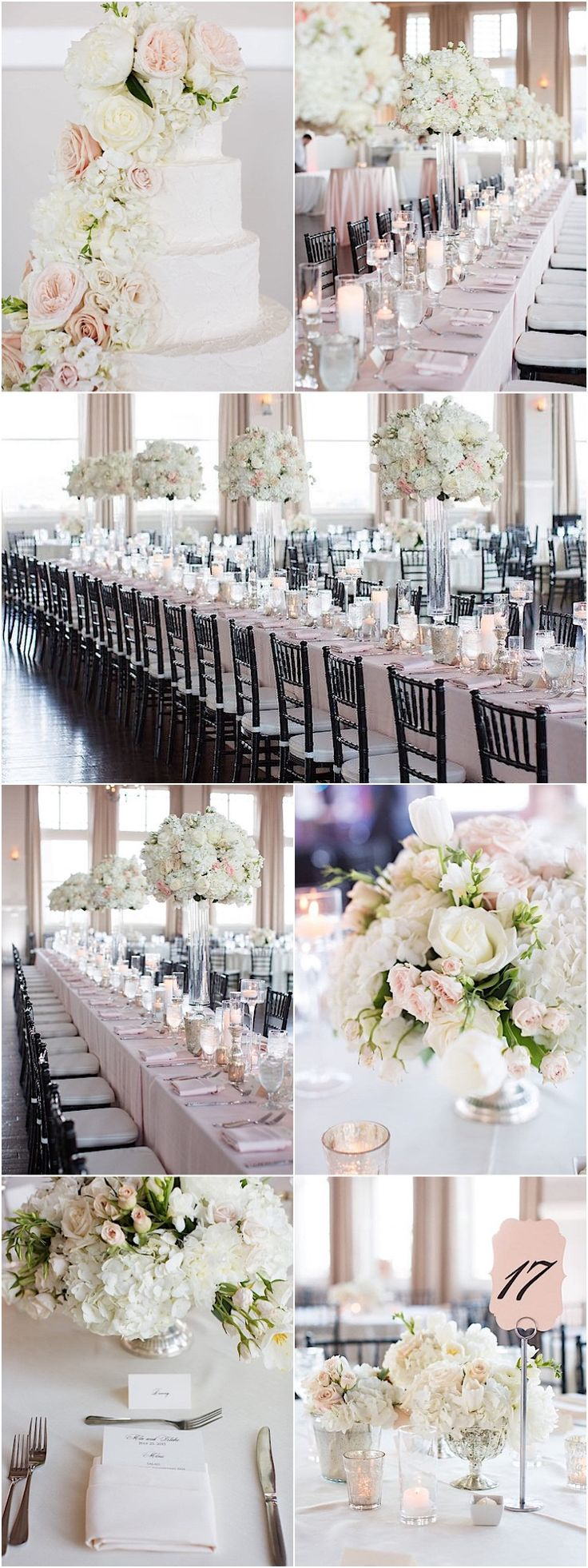 photo: Sarah Kate Photography; Glamorous white ballroom wedding reception idea;