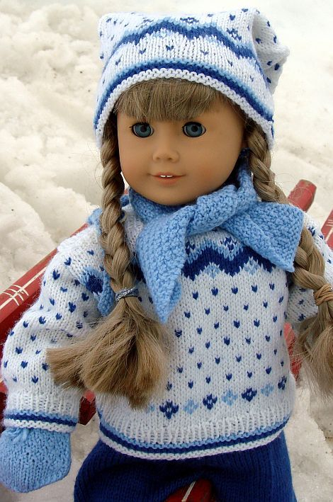 Knitting Patterns For Girl Sweaters : Doll knitting clothes for American Girl doll Kirsten ...