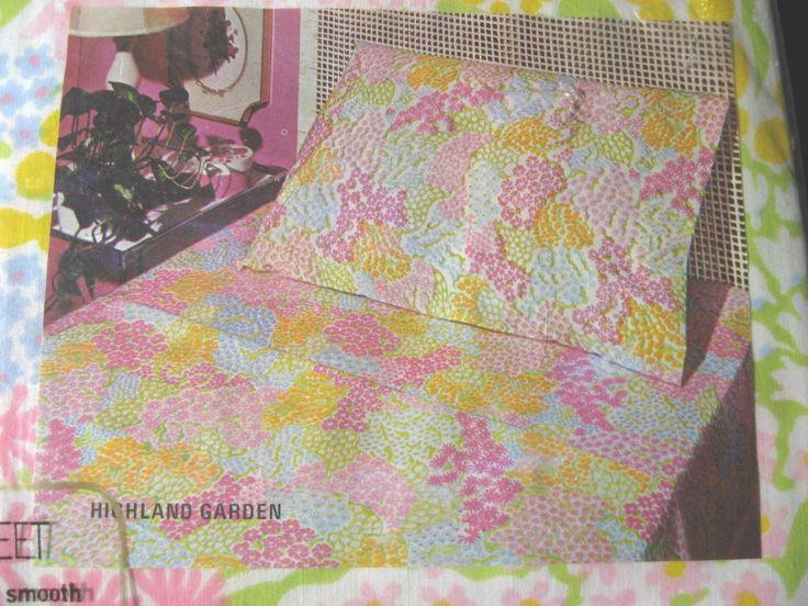 vtg martex highland garden floral sheet set full double 2 sheets 2 pillowcases u2022 vintage sheetssheet case