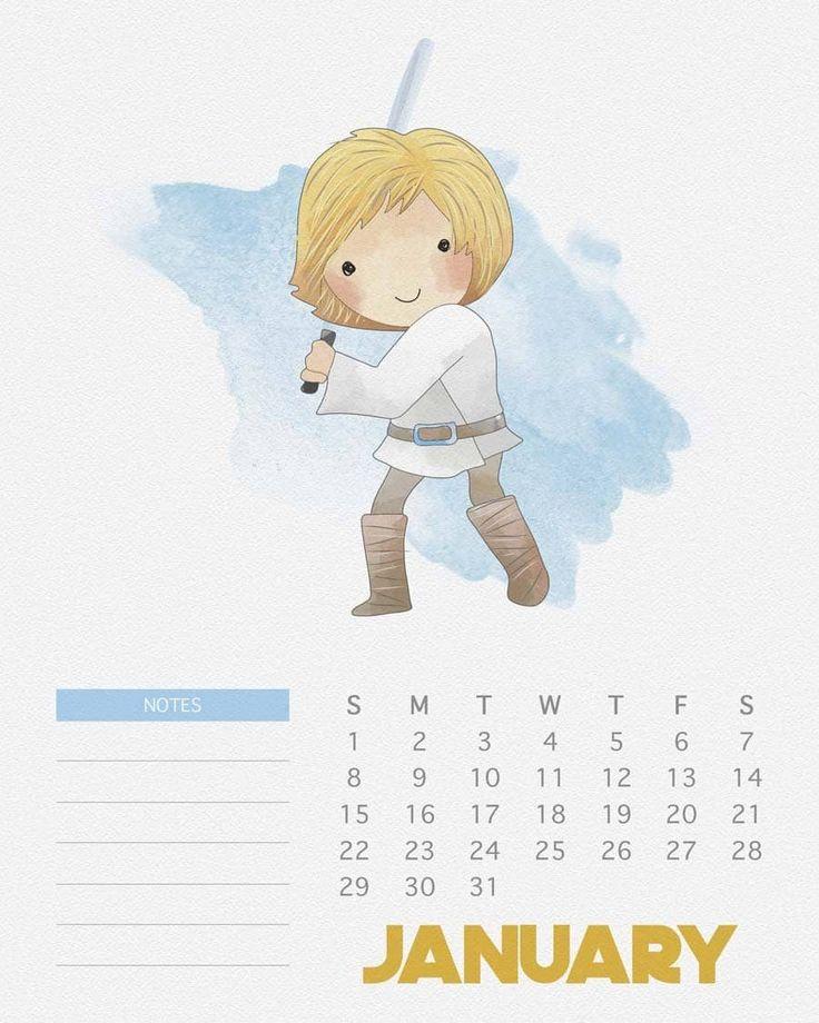 Calendário 2017 de Star Wars para imprimir