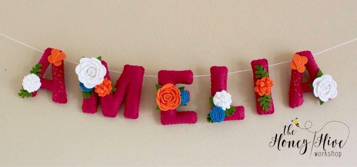 Flower name banner, girl, floral name decor, flower baby shower banner, flower nursery decor, felt name, felt name banner, nursery decor by TheHoneyHiveWorkshop on Etsy https://www.etsy.com/ca/listing/525829646/flower-name-banner-girl-floral-name