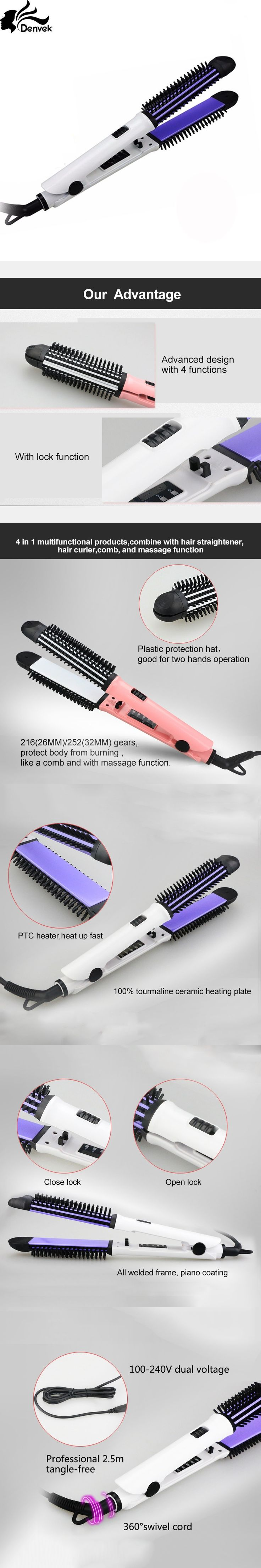 4 in1 multifunctional products combine with hair straightener hair curler comb hot comb and massage function PTC heating