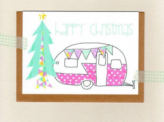 CARAVAN . happy christmas card . camper retro by ThePaisleyFive