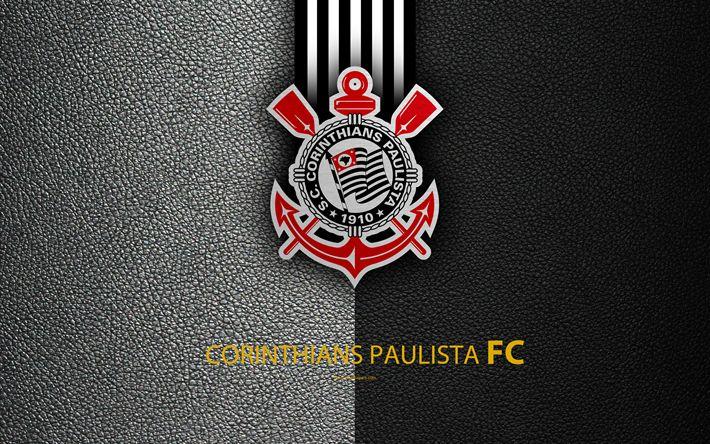 Download wallpapers Corinthians Paulista FC, 4K, Brazilian football club, Brazilian Serie A, leather texture, Corinthians emblem, logo, S?o Paulo, Brazil, football