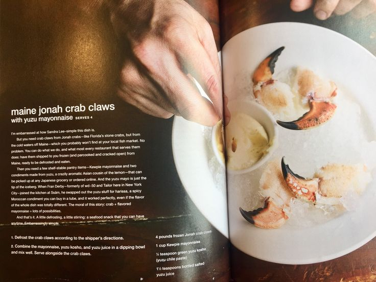 Momofuku inspiration for cousin dinner - Maine Jonah crab claws with yuzu mayonnaise - would use picked crab legs from university seafood instead