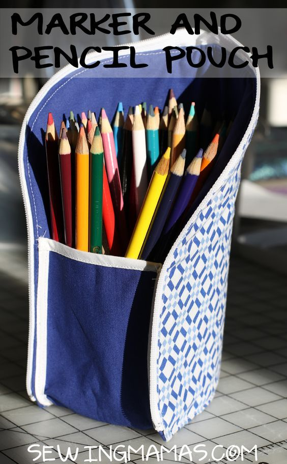 Nähen Mamas DIY Bleistift oder Filzstiftbeutel für Schulmaterial   – Nähen