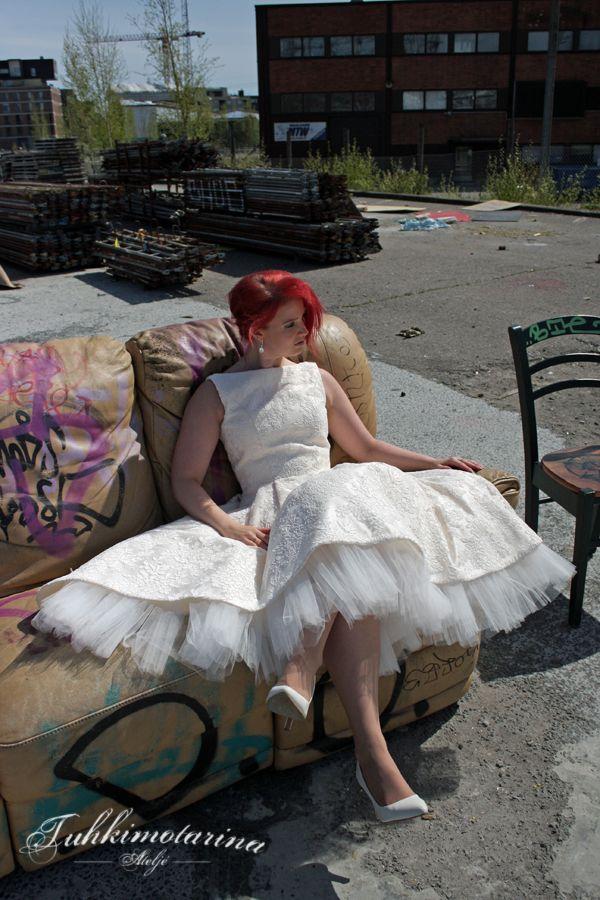 Dress: Ella by Heidi Tuisku Photo: Emma Nikkanen Model: Saana MUAH: Emma Nikkanen Earrings: Design Domi