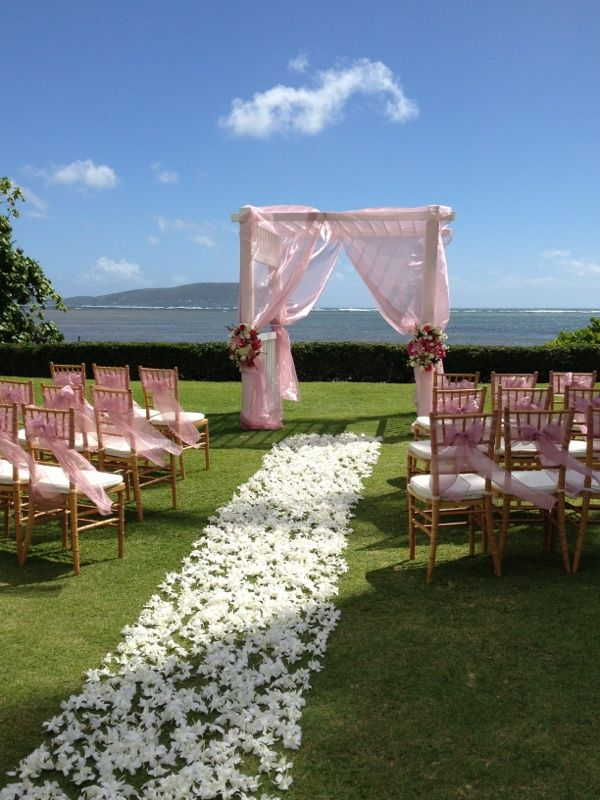 Wedding Flowers On Oahu : The kahala koko head wedding pink arbor with white