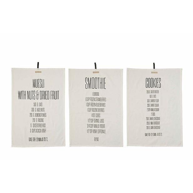 Bloomingville Kitchen Towel, Recipes Print set van 3 theedoeken? Bestel nu bij wehkamp.nl