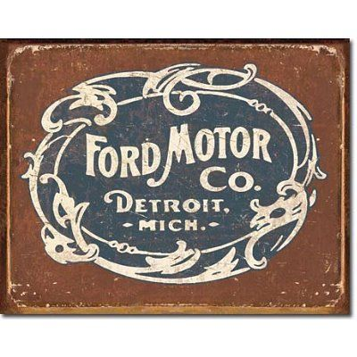 Ford Motor Co Historic Logo Distressed Retro Vintage Tin Sign Poster Revolution http://www.amazon.com/dp/B004FNTDR4/ref=cm_sw_r_pi_dp_AeaGub0DH6WTV
