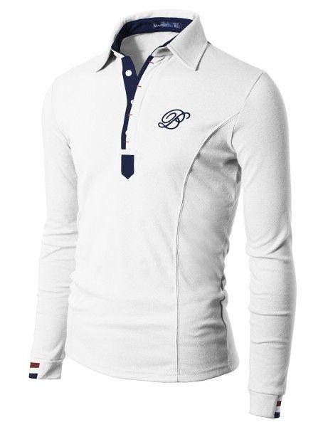 Doublju - Camiseta Gola Polo Manga Longa Slim Compre roupas de qualidade, com design inovador e preço justo!