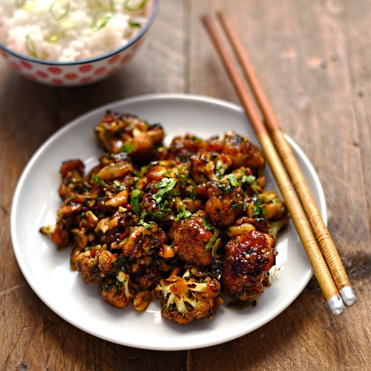 Kung Pao cauliflower Recipe Main Dishes with cauliflower, garlic, red chili peppers, ginger, spring onions, unsalted roasted peanuts, fresh coriander, corn flour, peanut oil, star anise, szechwan peppercorns, dried chile, toasted sesame oil, organic soy sauce, chinese rice wine, maple syrup