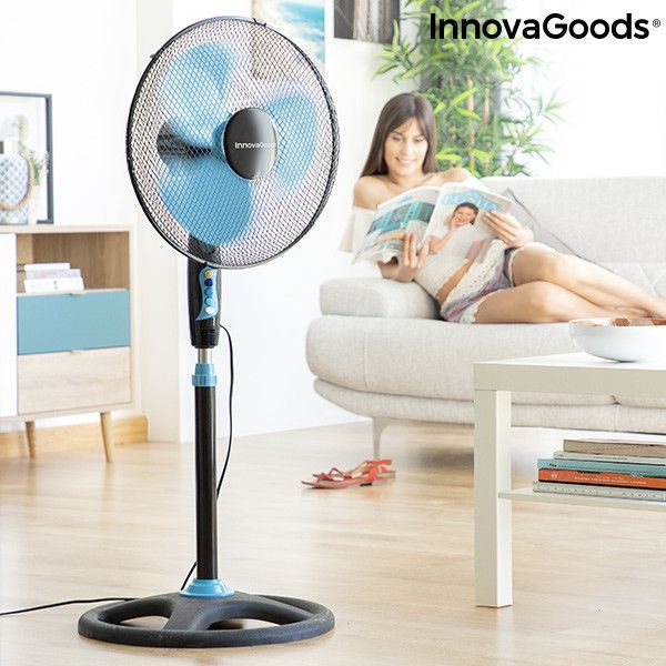 Freestanding Fan Innovagoods O 40 Cm 50w Black Blue Kedak In
