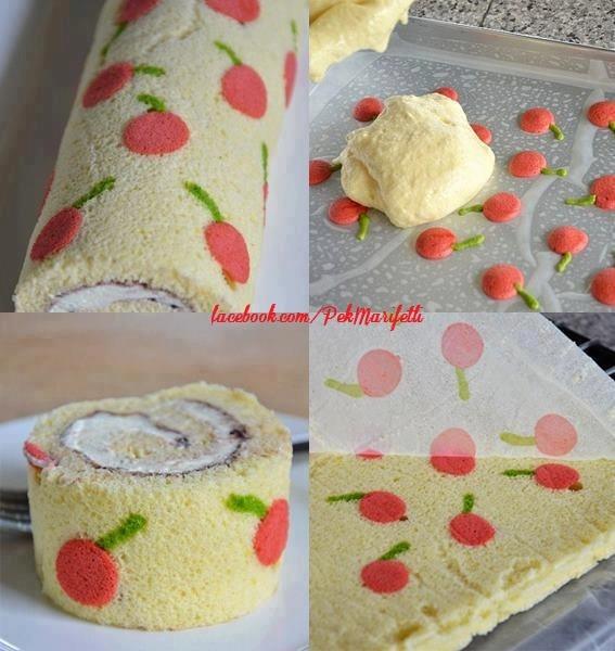 Muzlu, kirazlı rulo pasta