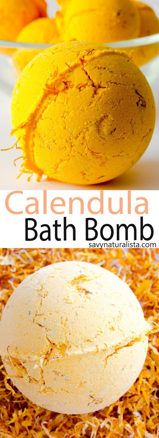Made with pure essential oils, this lush inspired bath bomb is easy to make. This Calendula bath bomb is made with real calendula petals to soothe and moisturize dry skin.