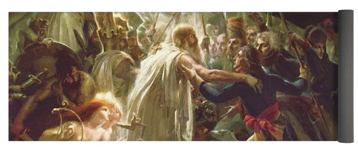 Ossian Yoga Mat featuring the painting Ossian Receiving The Ghosts Of The French Heroes 1801 by Girodet AnneLouis