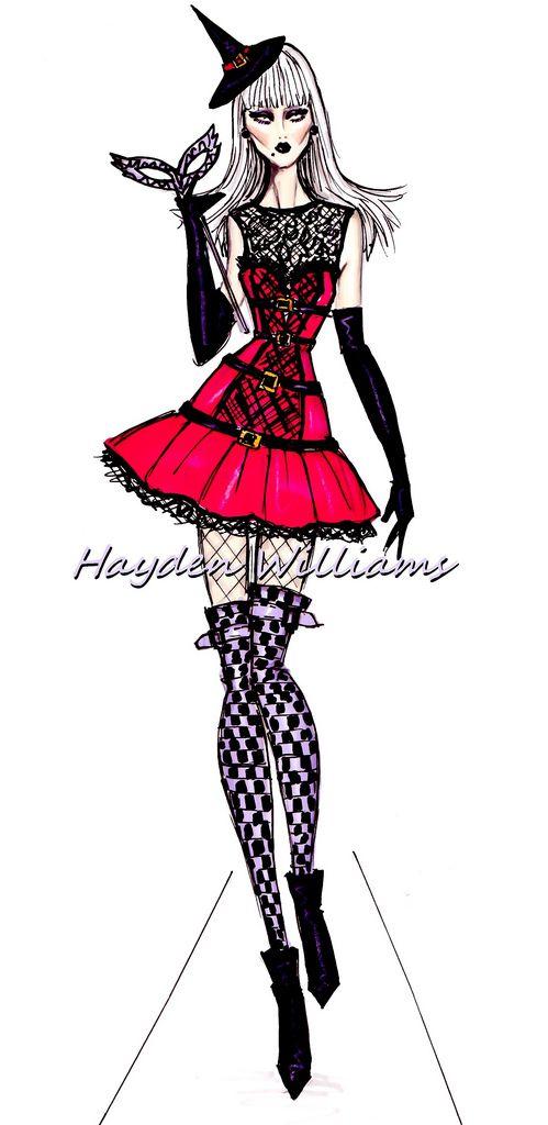 #Hayden Williams Fashion Illustrations 'Halloween Masquerade' by Hayden Williams: The Witch