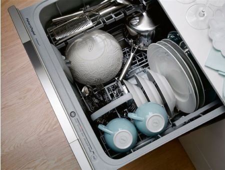 Single drawer dishwasher, uses 2 gallons of water, less than handwashing.