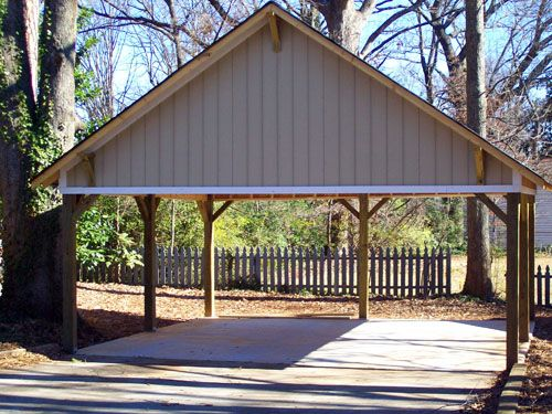 Wooden carports wood carport with gable roof starting at for Hip roof carport plans
