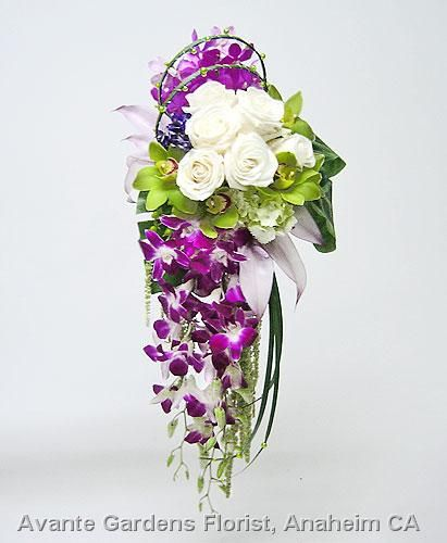 Cascade of roses, orchids, hydrangea, anthurium and amaranthus