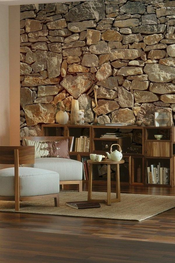 Charming Interior Design With Rock Wall Ideas
