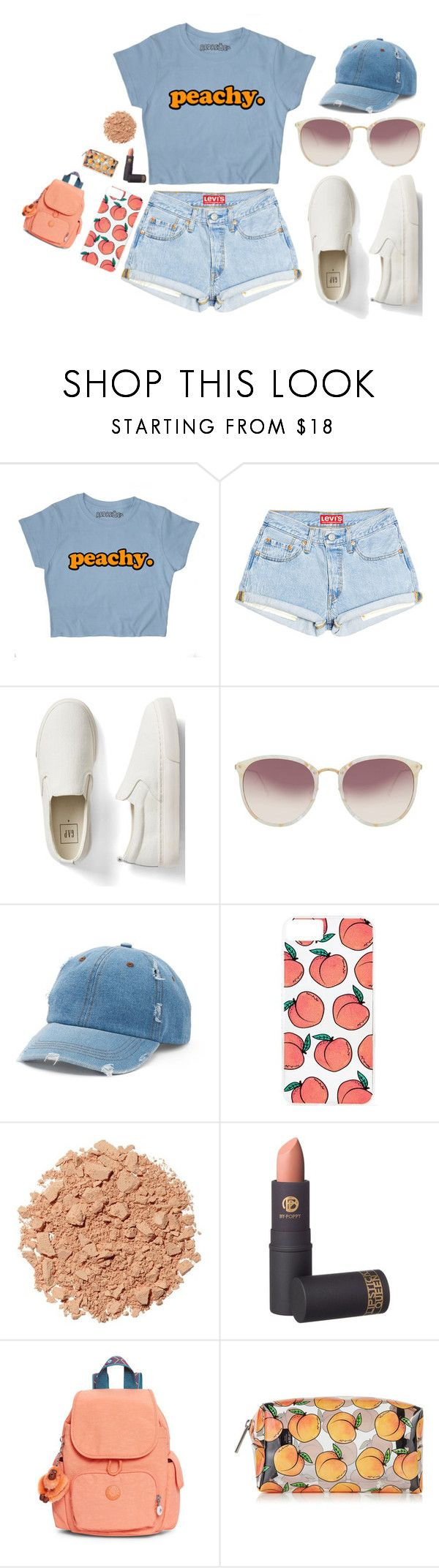 """Peachy 🍑"" by dark-jewel ❤ liked on Polyvore featuring Gap, Linda Farrow, Mudd, Skinnydip, Illamasqua, Lipstick Queen and Kipling"