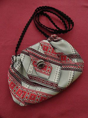 Silver and White & Reds Upcycled Lined Silk Necktie Purse Handmade
