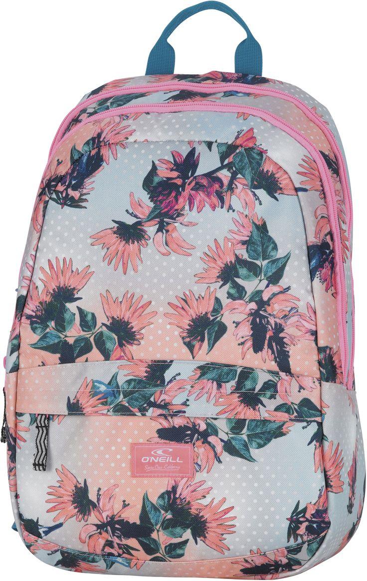 Neem al je speelgoed, schoolboeken en sportartikelen mee in deze nieuwe rugzak van O'Neill. De rugzak beschikt over een groot vak, een rits aan de voorkant, een handvat en verstelbare schouderbladen. Op de tas staat het O'Neill logo afgebeeld met daar omheen allerlei bloemetjes. De tas heeft de volgende afmetingen 44x30x18 cm. en is geschikt voor meisjes  vanaf tien jaar.   Afmeting: 360x440x300 mm - Rugzak O`Neill Girls flower 44x30x18 cm