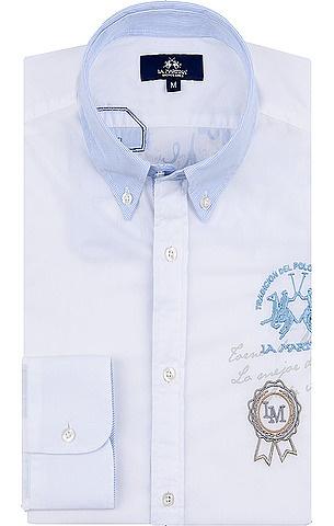 Klassisches Hemd von La Martina in Weiß. Mit farblich abgesetztem Button-Down-Kragen im Streifen-Dessin in Weiß-Blau, passenden gefütterten Manschetten, großer Logo-Stickerei auf Brusthöhe und Print-Details auf dem Rücken. Aus reiner Baumwolle gefertigt.